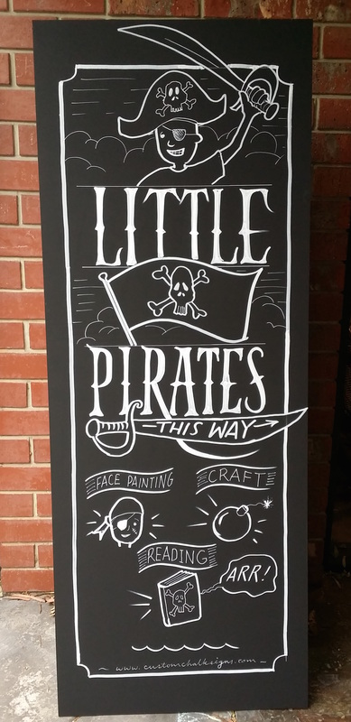 pirate party chalk sign